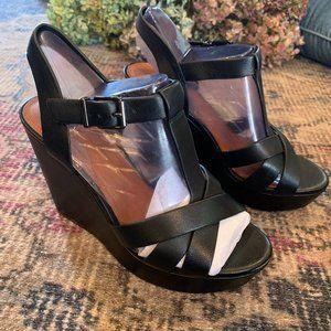Gianni Bini black leather wedge platform sandals 7.5 NEW